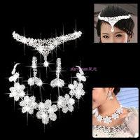 68 bride accessories flower wreath married necklace female three pieces set c381