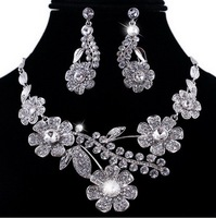 New Fashion Gorgeous Necklace Earring Set Bit Flower Flora Theme Silver Color Czech Rhinestone Wedding Party Jewelry