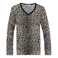 Male male T-shirt long-sleeve t-shirt 100% cotton leopard print long-sleeve basic shirt long-shirts tee
