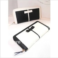 Black and white color block wallet 2013 new fashion women's wallet handbags cluth bag purse card bag high quality Flying Bear
