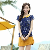 Summer 2013 free shipping new arrival peter pan collar short sleeve female top polka dot chiffon t shirt for women 1368