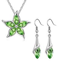 Best-selling woman Sterling silver crystal jewelry set /necklace + earrings A44+B138