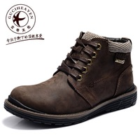 Men's outdoor lace-up genuine cow leather ankle tooling working shoe oxford Army boots,Rubber outsole,Black,Brown,39-44
