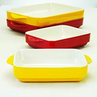 Ceramic tableware oven microwave oven rectangular colored glaze interaural bakeware rice dish