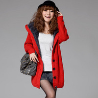 2013 new women's thickening sweater outerwear cardigan plus velvet loose plus size long design sweater female red