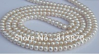 Wholesale/Retail AAA 7-8mm Women's Natural Freshwater Long Pearl Necklace 160cm(1piece) Birthday gift