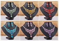 Wholesale 6Sets New Fashion Flower Huge Glamous Silver Plated Crystal Necklace Earring Set Prom Wedding Party Vogue Jewelry Set