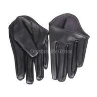 Hot Woman Tight Half Palm Gloves Imitation Leather Five Finger Black  NI5L