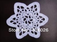 wholesale 20pcs/lot handmade crochet doily star-shaped coaster, flower applique for scrapbooking, wedding, DIY creation