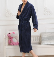 Coral fleece robe sleepwear bathrobes bathrobe male lounge 48 Dark Blue