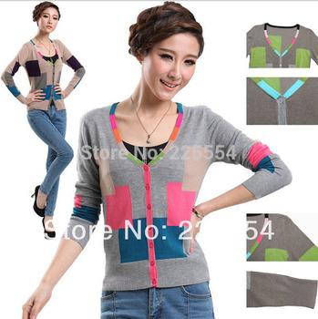 Верх Quality ladyies contrast Цвет Длинный Рукав кардиган causual свитер ourtweate ...