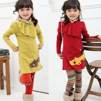 2013 new Autumn Girls bow Kitty long-sleeved dress Ruched collar edge medium-long fleece