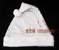 Christmas christmas hat santa claus hat silver velvet thickening double layer paillette hat decoration gift party supplies