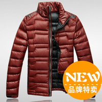 Male short design ultra-thin men's coat down clothing solid color down coat