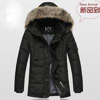 Down male business casual medium-long thickening down coat big raccoon fur