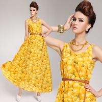 2014 women fresh fruit pattern beach dress bohemian V-neck slim full dress chiffon dress novelty Chiffon maxi summer dress