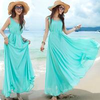 Women's 2014 summer new fashion elegant bohemia expansion bottom casual maxi long beach chiffon dresses, sky blue tank dress