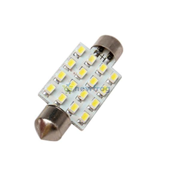 2 x White 42mm 16 LED SMD Festoon Dome Light Car Bulbs Lamp S7NF(China (Mainland))