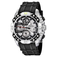 Festina F16543-1 Men's Bike Grey Dial Chronograph Black Rubber Band Quartz Watch