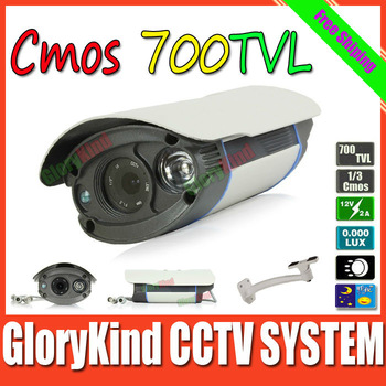 Freeshipping 700TVL 1 array light Led CCTV COLOR DAY & NIGHT ARMOR WATERPROOF Vandal Proof BLACK DOME CAMERA SYSTEM