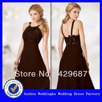 Sweet Chiffon Shirred Halter Style Bodice Evening Dress