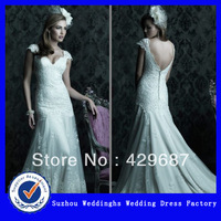 Elegant Organza and Lace Double V-neckline Bridal Dress