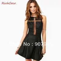 Free shipping women PU dress with guaze cross patchwork bkackless sleeveless o-neck wrapped chest fashion sexy D144