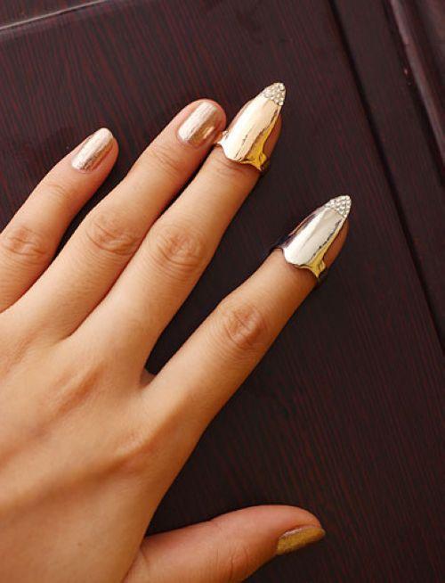 Hot sale Free Shipping Crystal cz Diamond Nails Ring Punk Cool Jeweled Nail Sets Art Nail Finger Ring(China (Mainland))