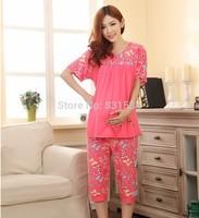 Maternity sleepwear gentlewomen bow short-sleeve print adjustable waist belt maternity clothing set 3025