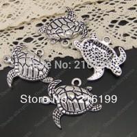 Whosesale Antiqued Style Silver Tone Alloy Charms Pendants Sea Turtle 21*17*3mm 40PCS 03919