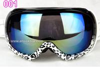 Freeshipping snow ski goggles double lens anti fog leopard skiing glasses Men Women Snowboard googles day night vision christmas