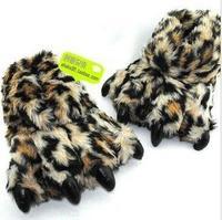 Fur Stuffed Bear Tiger Leopard Paw Indoor Room Padded Winter Slipper
