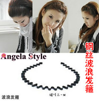 Free Shipping (12 Pcs) ! New Fashion Unisex Hair Band Elastic Excellent Simple Black Wavy Hair Bands Wire Headband