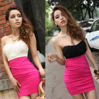 NEW FASHION WOMEN CHIFFON PATCHWORK LOW-CUT SEXY SLIM STRAPLESS DRESS GWF-6164