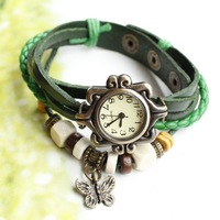 Free shipping - 2013 ladies women vintage bracelet watch butteryfly pendant Genuine cow leather quartz wristwatches