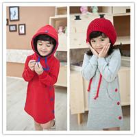Free shipping Child autumn and winter thickening plus wool long design sweatshirt