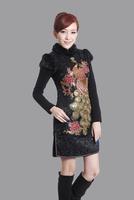 "Black New Chinese Women's Cotton warmth Qipao Mini Cheong-sam Evening Dress peafowl S M L XL XXL "" LGD Y0016-A """