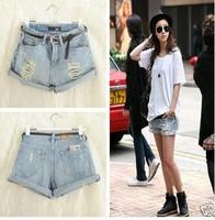 2014 New Vintage High Waist Women Shorts/Brand Denim Women Jeans/Casual Light Blue Short Jeans For Women