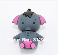 Free shipping 2GB 4GB 8GB 16GB 32GB 64GB Retail cartoon cute elephant USB Flash Drives thumb pen drives memory stick disk