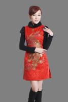 "Red New Chinese Women's Cotton warmth Qipao Mini Cheong-sam Evening Dress peafowl S M L XL XXL "" LGD Y0016-C """