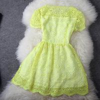 Fashion Apparel Women's female summer ol water flower cutout lace one-piece dress