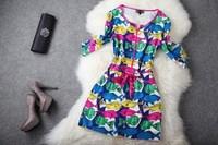 Fashion Apparel Fashion half sleeve one-piece dress national trend slim silk vintage fancy full dress