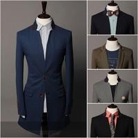 Free shipping 2013 14 New men's Fashion  Blazer  gentleman slim Longer section Two buckle 5colors M-XXL 9033