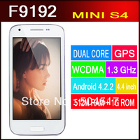 DHL F9192 Dual Core Android 4.2.2 MTK6572 1.3GHz GSM WCDMA Dual SIM WIFI 512M 1G 4.4 Inch Screen Mini S4 Phone Free Case