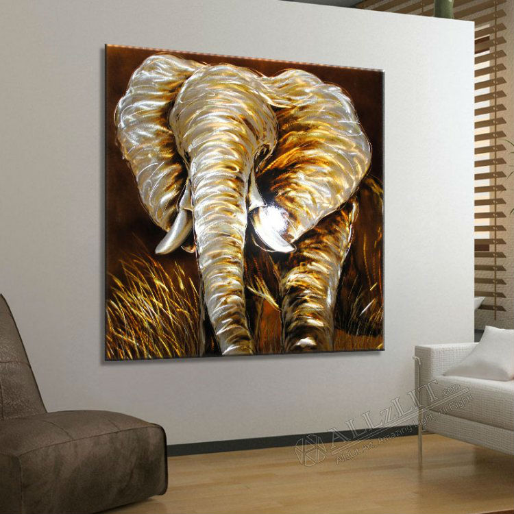 Modern metal wall art sculpture paintings new original African elephant home decor
