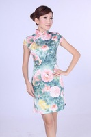 "Green New Chinese Women's Cotton Qipao Mini Cheong-sam Evening Dress Flower S M L XL XXL "" LGD D0191-A """
