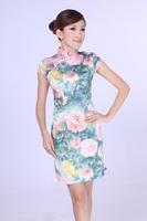 "Green New Chinese Women's Cotton Qipao Mini Cheong-sam Evening Dress Flower S M L XL XXL "" LGD D0191-A """