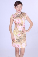 "Pink New Chinese Women's Cotton Qipao Mini Cheong-sam Evening Dress Flower S M L XL XXL "" LGD D0191 """