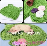 Unisex Fashion Cute Newborn Baby Infant Toddler Lotus Leaf Pad Mat Handmade Crochet Frog Hat Costume Photography Props Free Ship