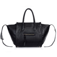 2013 autumn and winter women's handbag Fashion crocodile pattern vintage bag bat smiley tote tassel shoulder bag